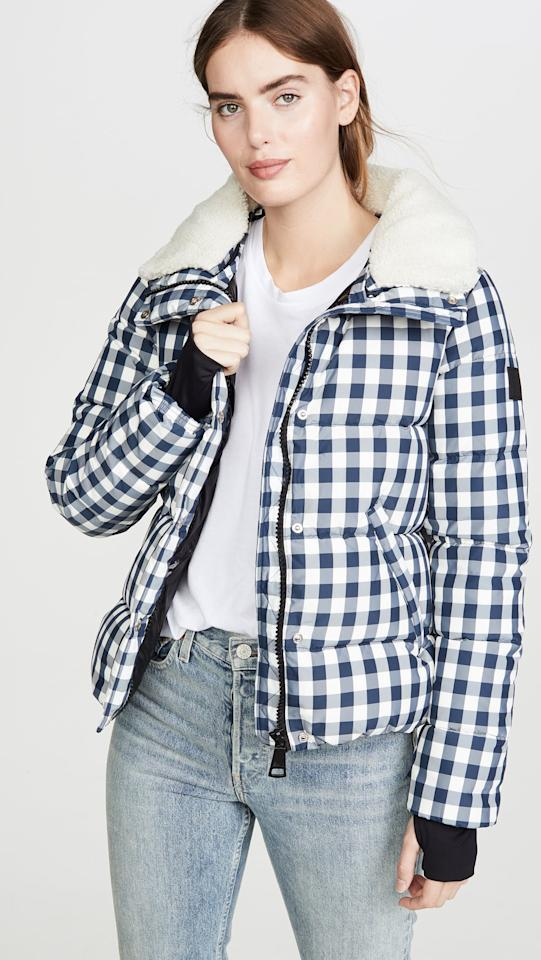 "<p>This <a href=""https://www.popsugar.com/buy/Sam-Gingham-Wyatt-Jacket-496636?p_name=Sam.%20Gingham%20Wyatt%20Jacket&retailer=shopbop.com&pid=496636&price=575&evar1=fab%3Aus&evar9=45631613&evar98=https%3A%2F%2Fwww.popsugar.com%2Ffashion%2Fphoto-gallery%2F45631613%2Fimage%2F46701493%2FSam-Gingham-Wyatt-Jacket&list1=shopping%2Ccoats%2Cwinter%2Cwinter%20fashion%2Cpuffer%20jackets&prop13=mobile&pdata=1"" rel=""nofollow"" data-shoppable-link=""1"" target=""_blank"" class=""ga-track"" data-ga-category=""Related"" data-ga-label=""https://www.shopbop.com/gingham-wyatt-jacket-sam/vp/v=1/1552920935.htm?folderID=13425&amp;fm=other-shopbysize-viewall&amp;os=false&amp;colorId=77010"" data-ga-action=""In-Line Links"">Sam. Gingham Wyatt Jacket</a> ($575) is the perfect Fall to Winter transitional piece.</p>"