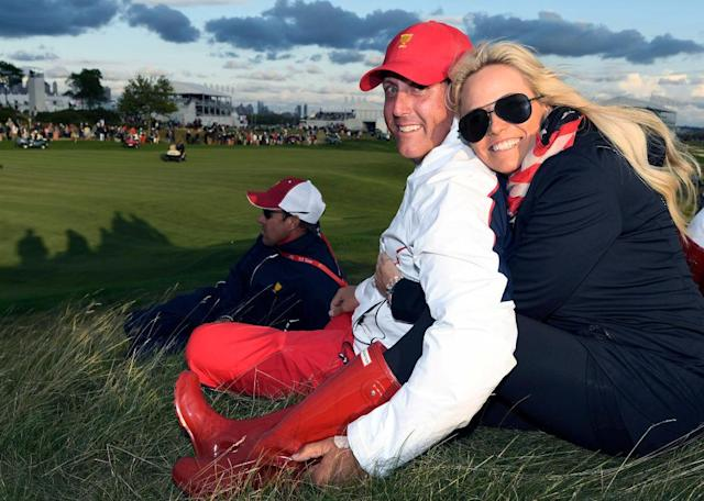 Phil and Amy Mickelson, pictured at the Presidents Cup. (Getty)