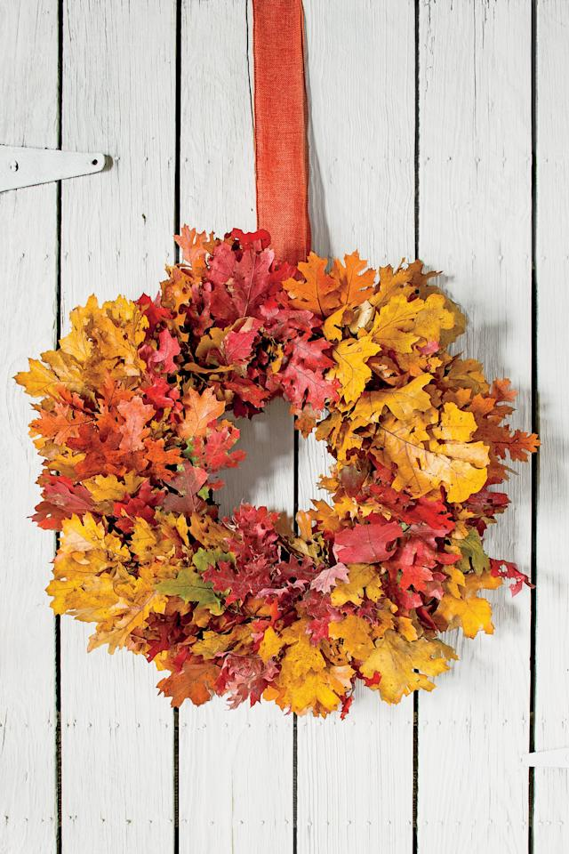 "<p>Rake in the compliments with a wreath featuring brilliant autumn leaves. This works with maple, oak, sweet gum, hickory, dogwood—whatever is putting on a show in your yard. You can also make it with preserved leaves purchased at a crafts store or online (try <em><a href=""http://www.save-on-crafts.com/"" target=""_blank"">save-on-crafts.com</a></em> or <em><a href=""http://www.drieddecor.com/"" target=""_blank"">drieddecor.com</a></em>).</p> <p><strong>How To Make It: <a href=""http://www.southernliving.com/home-garden/decorating/colorful-foliage-fall-wreath"" target=""_blank"">Colorful Foliage Fall Wreath</a></strong></p>"