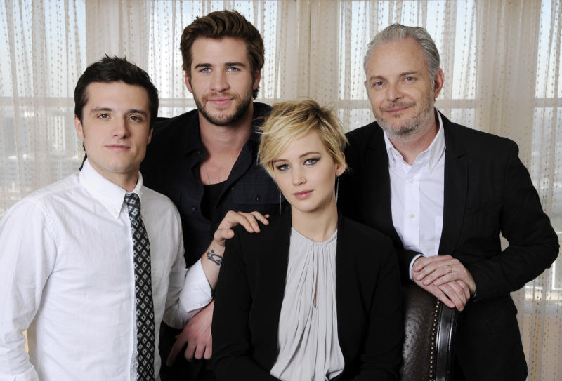 Francis Lawrence with the cast of The Hunger Games