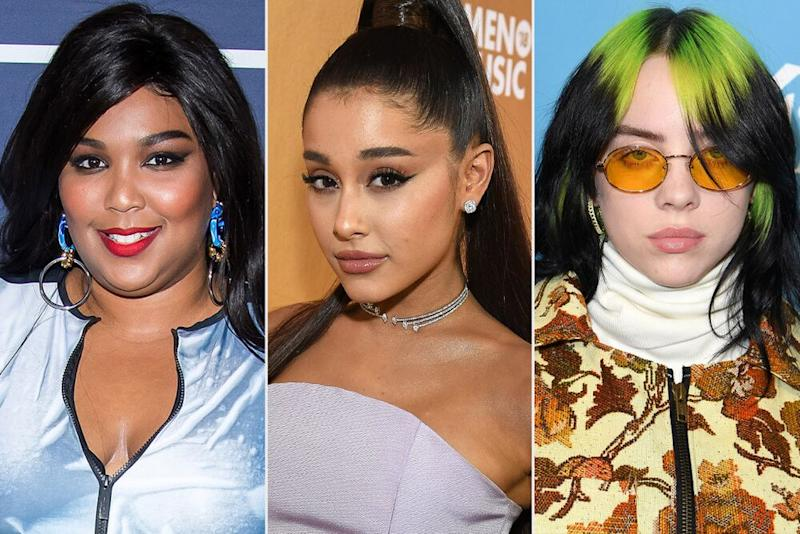 Lizzo, Ariana Grande, Billie Eilish | Charles Sykes/Bravo/NBCU Photo Bank/NBCUniversal via Getty; Kevin Mazur/Getty; Steve Granitz/WireImage