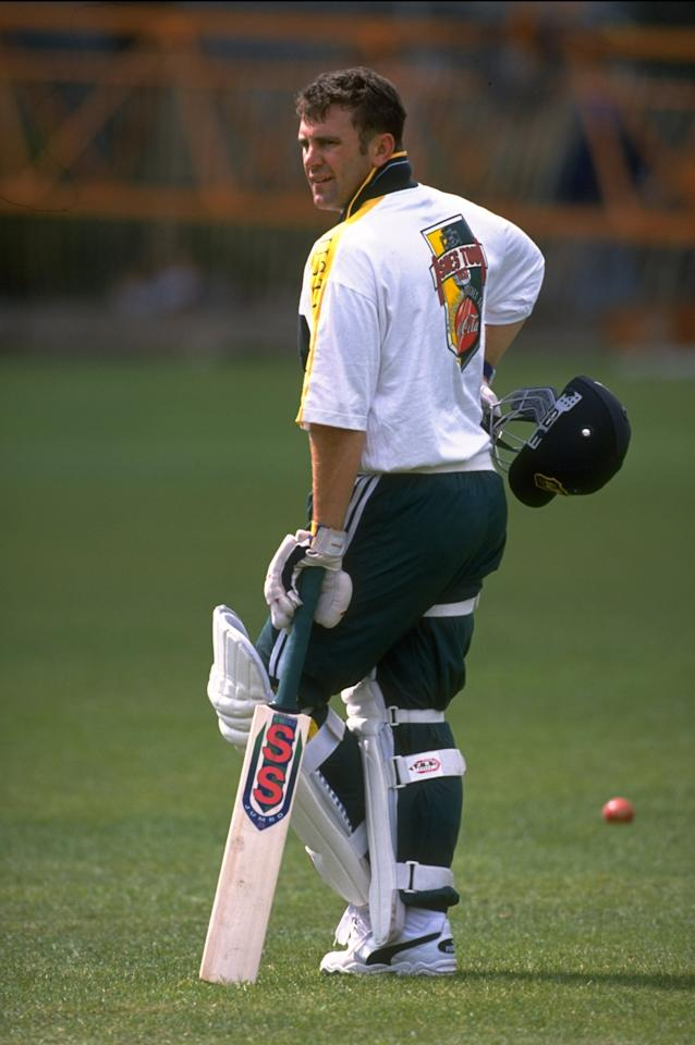 13 May 1997:  Mark Taylor, the Australian captain training in the cricket nets at Lords Cricket Ground in London, England. \ Mandatory Credit: Laurence Griffiths /Allsport