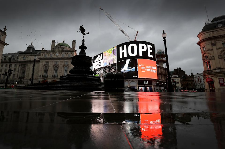 A deserted Piccadilly Circus during England's third national lockdown  (Getty Images)