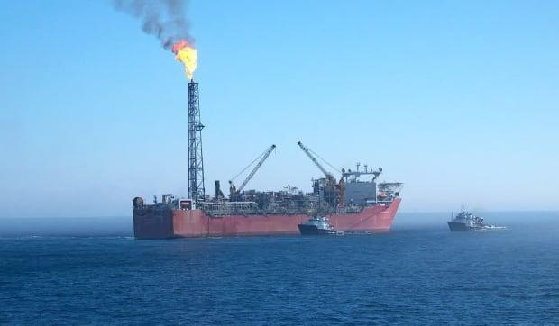 The Terra Nova floating production, storage and offloading vessel began producing oil in Newfoundland's offshore in 2002. This undated photo was taken before the vessel left the Grand Banks last year. It is now docked in Bull Arm, Trinity Bay. (Todd Churchill/Facebook - image credit)