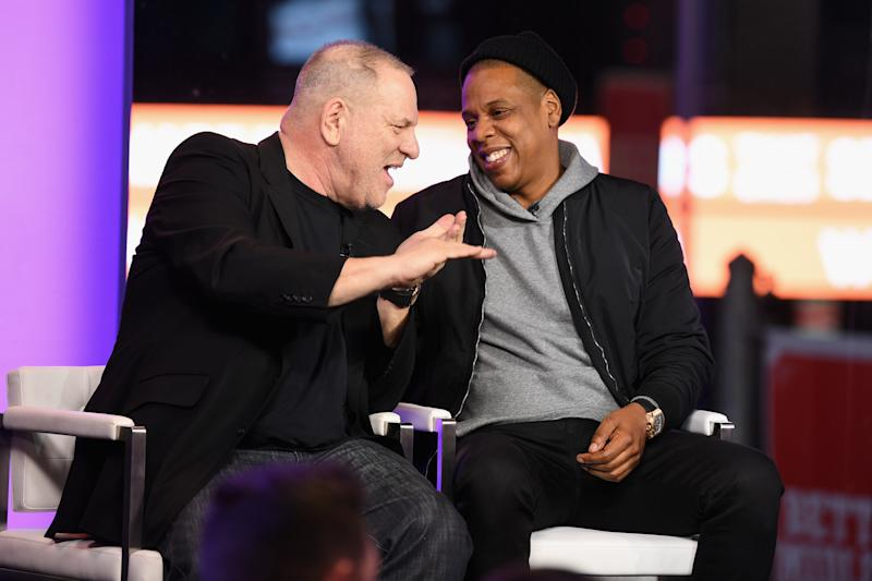 Weinstein and Jay Z speak onstage on March 8, 2017 in New York City. (Dave Kotinsky via Getty Images)