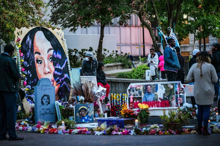 <p>A monument to Breonna Taylor, an unarmed Black woman killed by Louisville Police in Jefferson Square Park on 2 October, 2020, in Louisville, Kentucky.</p> (Jon Cherry / Getty Images)