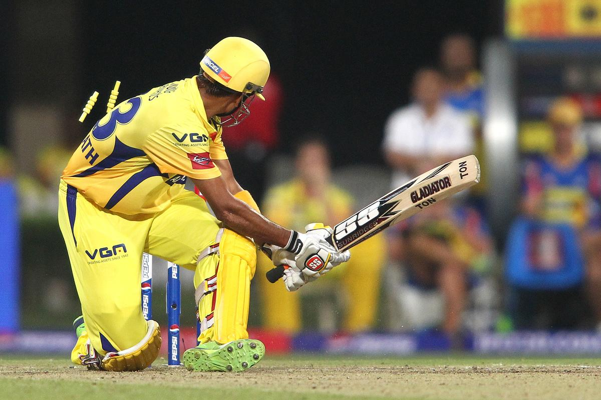 Subramaniam Badrinath of Chennai Super Kings gets bowled around his legs by Jacques Kallis of Kolkata Knight Riders during match 26 of the Pepsi Indian Premier League between The Kolkata Knight Riders and the Chennai Superkings held at the Eden Gardens Stadium in Kolkata on the 20th April 2013..Photo by Shaun Roy-IPL-SPORTZPICS  ..Use of this image is subject to the terms and conditions as outlined by the BCCI. These terms can be found by following this link:..https://ec.yimg.com/ec?url=http%3a%2f%2fwww.sportzpics.co.za%2fimage%2fI0000SoRagM2cIEc&t=1495607599&sig=mmFxNTf6wfZ0tqTnF9psHA--~C