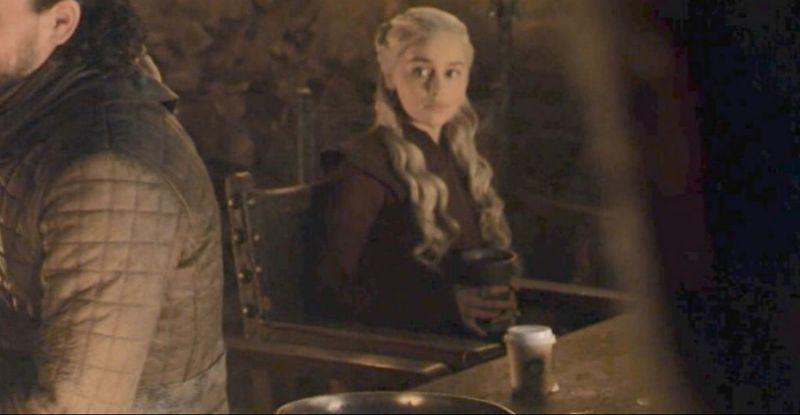 Emilia Clarke and the coffee cup