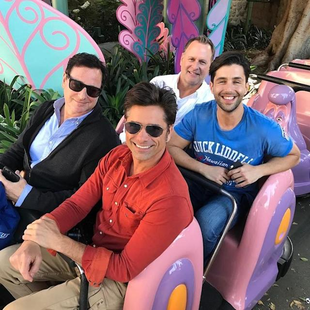 "<p>Stamos is a Disneyland freak, so it's no surprise he invited his <em>Full House</em> castmates Bob Saget and Dave Coulier as well as his former <em>Grandfathered</em> costar Josh Peck to his girlfriend Caitlin McHugh's 31st-birthday party at the Happiest Place on Earth! We guess she must have snapped this photo of the guys on the Alice in Wonderland ride. (Photo: <a href=""https://www.instagram.com/p/BUDYOlxAvEp/"" rel=""nofollow noopener"" target=""_blank"" data-ylk=""slk:John Stamos via Instagram"" class=""link rapid-noclick-resp"">John Stamos via Instagram</a>) </p>"