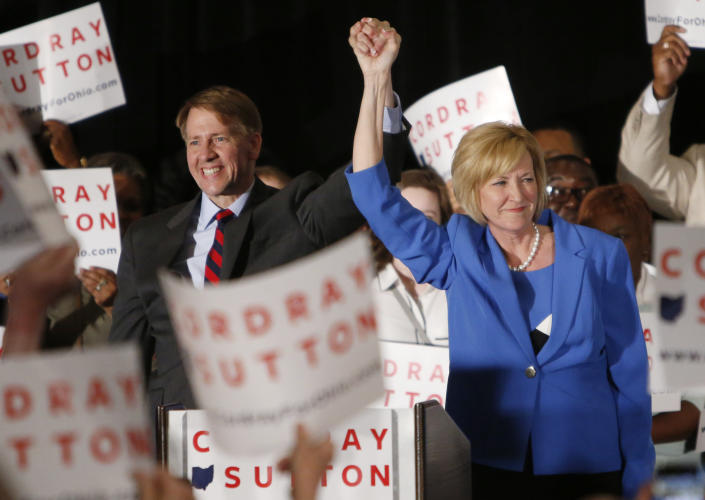 Democratic gubernatorial candidate Richard Cordray, left, and his running mate Betty Sutton greet a crowd of supporters during an election night event Tuesday, May 8, 2018, in Columbus, Ohio. (Photo: Jay LaPrete/AP)