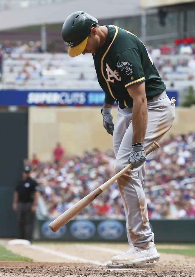 Oakland Athletics' Matt Olson hits his bat to the ground after striking out against Minnesota Twins pitcher Michael Pineda in the fifth inning of a baseball game Sunday, July 21, 2019, in Minneapolis. (AP Photo/Jim Mone)