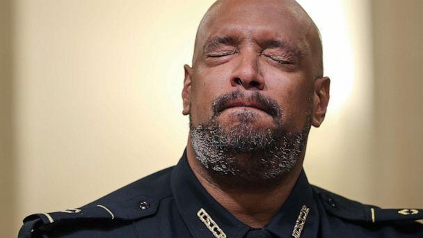 PHOTO: U.S. Capitol Police officer Harry Dunn becomes emotional as he testifies before the House Select Committee investigating the Jan. 6 attack on Capitol Hill in Washington, D.C., July 27, 2021. (Chip Somodevilla/Pool via Reuters)