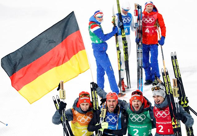 Nordic Combined Events - Pyeongchang 2018 Winter Olympics - Men's Team 4 x 5 km Final - Alpensia Cross-Country Skiing Centre - Pyeongchang, South Korea - February 22, 2018 - Eric Frenzel, Johannes Rydzek, Fabian Riessle and Vinzenz Geiger of Germany celebrate their win. REUTERS/Dominic Ebenbichler TPX IMAGES OF THE DAY