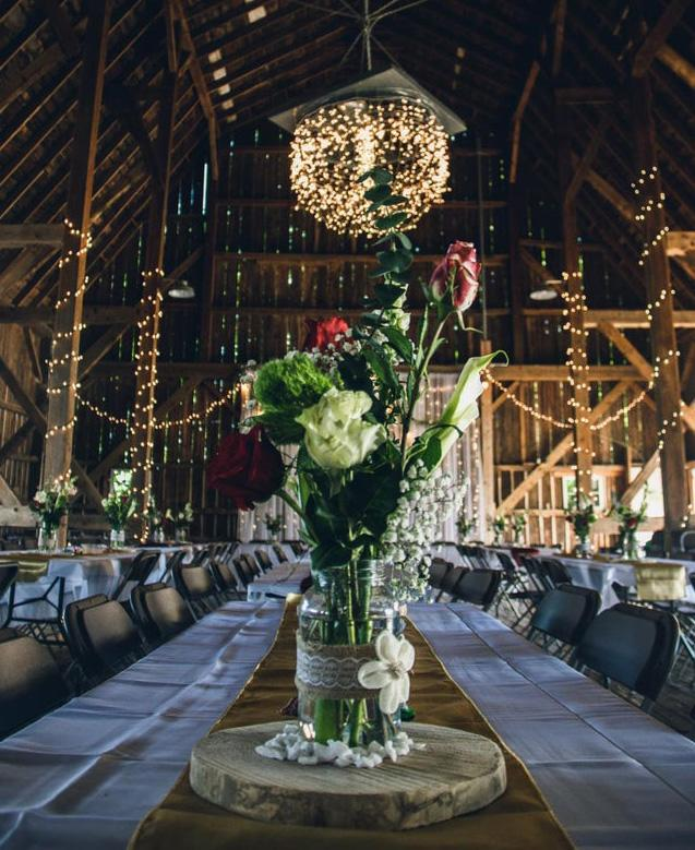 Image of centrepiece at wedding, chairs very close no social distancing.