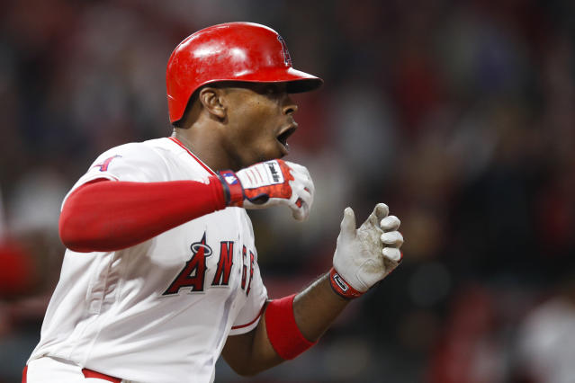 Los Angeles Angels' Justin Upton reacts after Arizona Diamondbacks' Jarrod Dyson caught his fly ball during the seventh inning of a baseball game, Monday, June 18, 2018, in Anaheim, Calif. (AP Photo/Jae C. Hong)