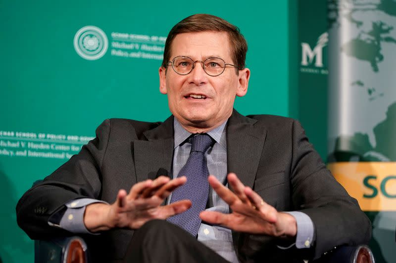 FILE PHOTO: Former CIA acting director Michael Morell speaks on election security in Washington.