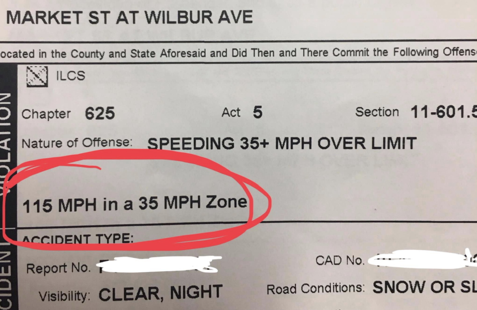 A woman in Illinois was arrested after going 80 miles per hour over the speed limit. (Photo: via Facebook)