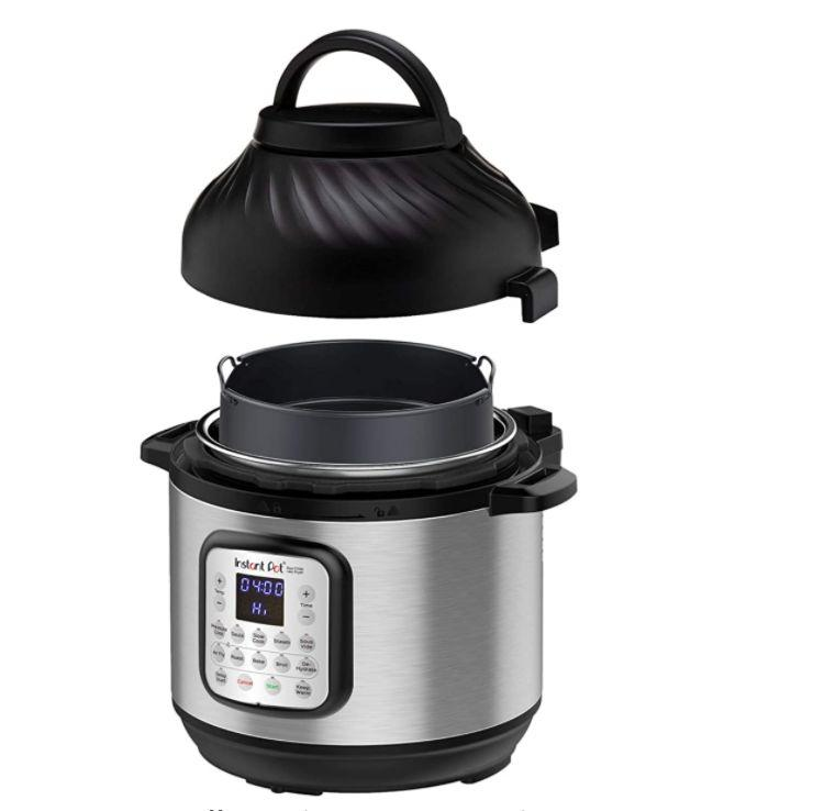 """Originally $180, this <a href=""""https://amzn.to/3d1OrDG"""" target=""""_blank"""" rel=""""noopener noreferrer"""">Instant Pot Air Fryer + EPC Combo Pressure Cooker (8-quart) is on sale for $70</a> on Amazon. It does the work of seven gadgets in one."""