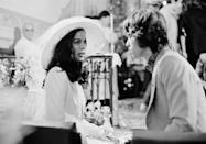 <p>English rockstar Mick Jagger and actress Bianca De Macias look deep into each other's eyes during their wedding at the Church of St. Anne, St Tropez, May 12th, 1971. The couple divorced in 1978. Neither were officially married again.<br></p>