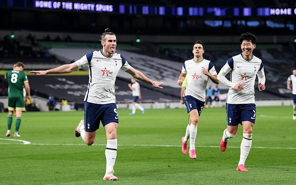 Bale shows his delight after scoring his third goal of the game - GETTY IMAGES