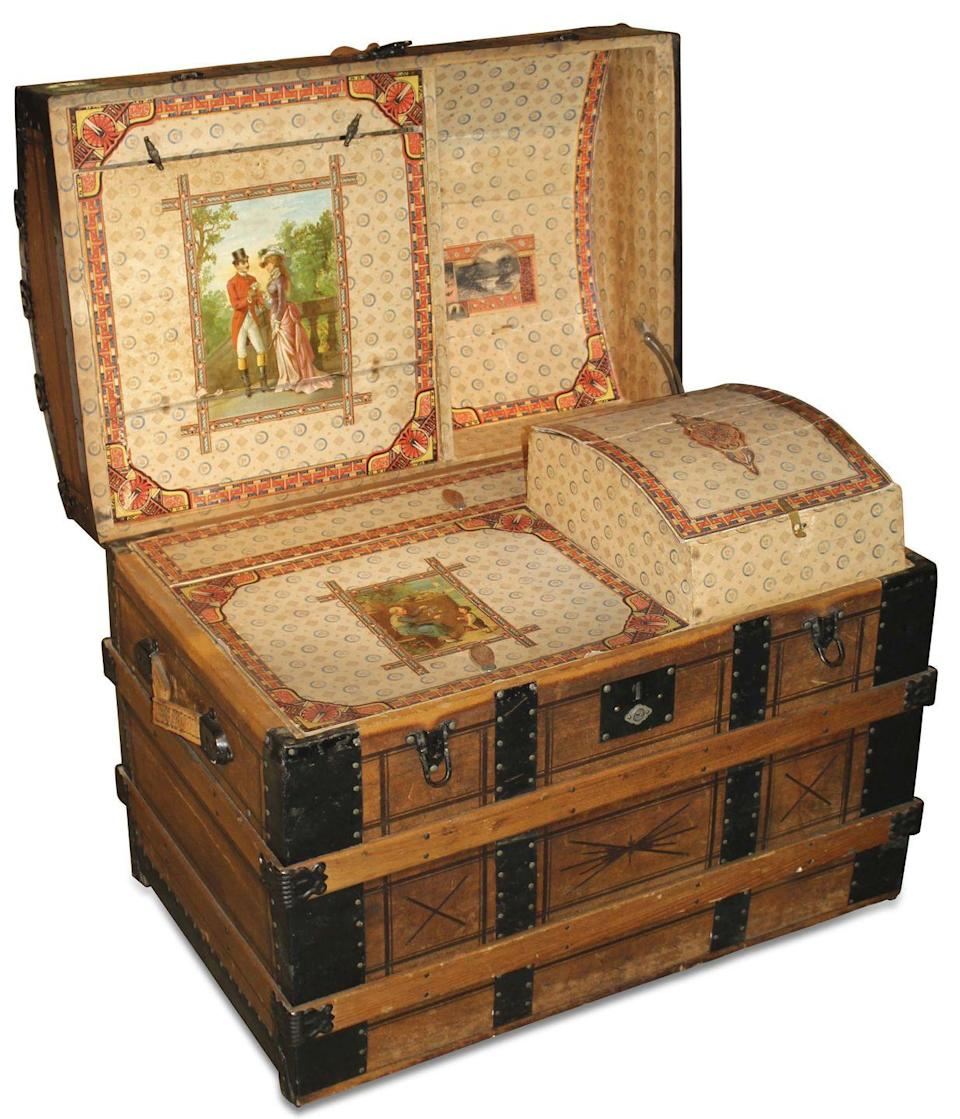 <p>During the 1870s, wealthy people would load up their wagons and decamp for the entire summer to places like Saratoga Springs, NY, the popular warm-weather destination for which these dome-topped style trunks are named. The interiors of these stylish trunks have multiple storage compartments and are often lined with pretty lithographed paper, as pictured here.</p><p><strong>What it's Worth:</strong> Up to $700</p>