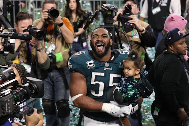 Philadelphia Eagles defensive end Brandon Graham celebrates after defeating the New England Patriots in the NFL Super Bowl 52 football game Sunday, Feb. 4, 2018, in Minneapolis. The Eagles won 41-33. (AP Photo/Tyler Kaufman)