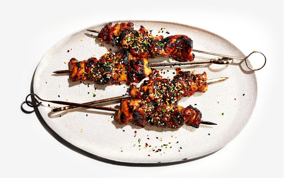 "Soy adds saltiness along with a deep color to these skewers; the glaze would also be great on short ribs. <a href=""https://www.bonappetit.com/recipe/soy-basted-chicken-kebabs-sesame-citrus-sprinkle?mbid=synd_yahoo_rss"" rel=""nofollow noopener"" target=""_blank"" data-ylk=""slk:See recipe."" class=""link rapid-noclick-resp"">See recipe.</a>"