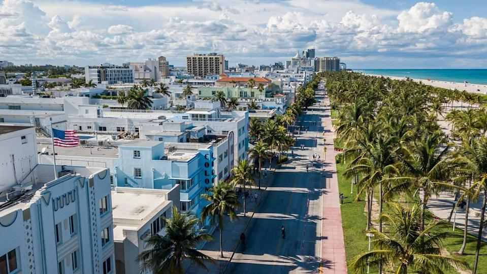 Aerial view of Ocean Drive in Miami Beach, Florida on Saturday, May 16, 2020. City officials closed a stretch of Ocean Drive in South Beach to traffic on Saturday. Cars will not be allowed to drive on Ocean Drive from 5th to 15th Street and officials will keep the road closed for the foreseeable future.