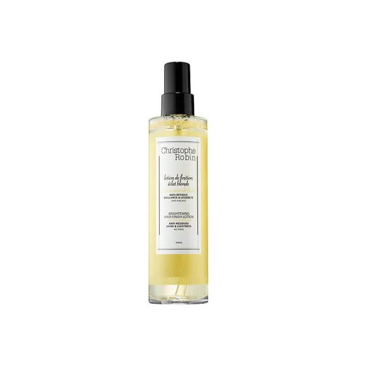 "<p>Who: This is best for someone who wants to clarify and remove impurities from the hair. What: Christophe Robin Brightening Hair Finish Lotion with Fruit Vinegar, $40, <a rel=""nofollow"" href=""http://www.sephora.com/brightening-hair-finish-lotion-with-fruit-vinegar-P401458?icid2=christophe_robin_lp_herbal_vinegar_carousel%3Ap401458&mbid=synd_yahoolife&skuId=1747336"">sephora.com</a> is a leave-in brightening lotion that will give hair a healthy finish. Where: Apply on wet or dry hair from root to tip. Can also be used for the body as a refreshing toner! When: Apply after shampoo and conditioner. Why: Fruit vinegar and chamomile extract help to purify hair, while helping hair regain it's natural brightness.</p>"