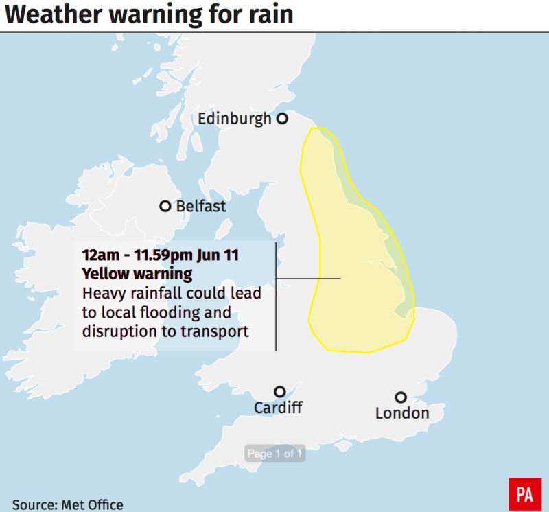 A weather warning is in place for Tuesday (Picture: PA)