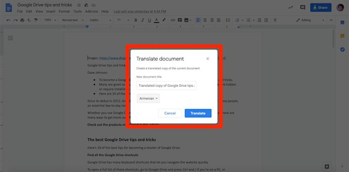 Drive will use Google Translate to translate your document.