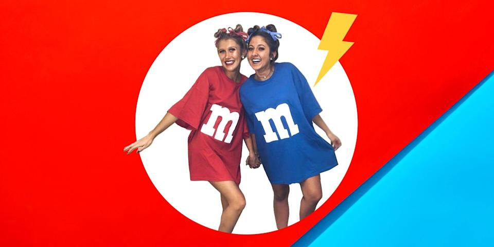 """<p>You and your best friend want to have the absolute <a href=""""https://www.womenshealthmag.com/relationships/g33298559/couple-costume-ideas-for-halloween/"""" rel=""""nofollow noopener"""" target=""""_blank"""" data-ylk=""""slk:best costumes this Halloween"""" class=""""link rapid-noclick-resp"""">best costumes this Halloween</a>—even more than you want to raid the candy aisles for discount treats on November 1 (what, just me?). Totally understandable. But when you're both busy dealing with ~life~, you're kinda short on time and don't have tons of creative energy to brainstorm a dozen amazing ideas on the fly.</p><p>Like, how are you and your bestie supposed to live up to iconic moments like <a href=""""https://www.womenshealthmag.com/health/a28422994/katy-perry-enemas-not-healthy/"""" rel=""""nofollow noopener"""" target=""""_blank"""" data-ylk=""""slk:Katy Perry"""" class=""""link rapid-noclick-resp"""">Katy Perry</a> and <a href=""""https://www.womenshealthmag.com/life/a33414850/taylor-swift-doppelganger-tik-tok/"""" rel=""""nofollow noopener"""" target=""""_blank"""" data-ylk=""""slk:Taylor Swift"""" class=""""link rapid-noclick-resp"""">Taylor Swift</a> dressed as a burger and fries? Or when <a href=""""https://www.womenshealthmag.com/relationships/a31098697/chrissy-teigen-john-legend-social-media-relationship/"""" rel=""""nofollow noopener"""" target=""""_blank"""" data-ylk=""""slk:Chrissy Teigen and John Legend"""" class=""""link rapid-noclick-resp"""">Chrissy Teigen and John Legend</a> (yes, they count as besties) <a href=""""https://www.instagram.com/p/BpoGoyVF5zh/?utm_source=ig_embed"""" rel=""""nofollow noopener"""" target=""""_blank"""" data-ylk=""""slk:dressed up as Queen Elizabeth and Prince Philip"""" class=""""link rapid-noclick-resp"""">dressed up as Queen Elizabeth and Prince Philip</a> in 2018? Honestly, it makes sense if you're feeling the pressure trying to live up to these epic <a href=""""https://www.womenshealthmag.com/relationships/g22800801/celebrity-halloween-costumes-couples/"""" rel=""""nofollow noopener"""" target=""""_blank"""" data-ylk=""""slk:celeb Halloween costume duos"""" class=""""link rapid-noclick-"""
