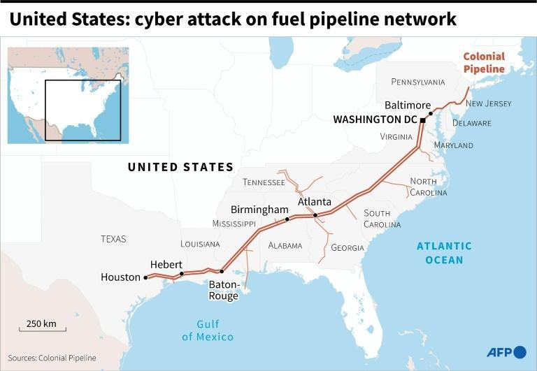 United States: cyber attack on fuel pipeline network