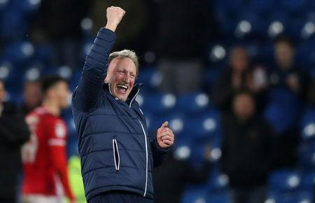 Soccer Football - Championship - Cardiff City vs Barnsley - Cardiff City Stadium, Cardiff, Britain - March 6, 2018 Cardiff City manager Neil Warnock celebrates at full time Action Images/Peter Cziborra