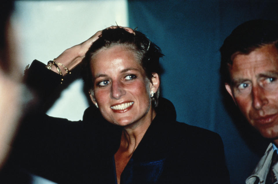 Princess Diana with wet hair at a Pavarotti concert in Hyde Park, London, 30th July 1991. (Photo by Princess Diana Archive/Getty Images)