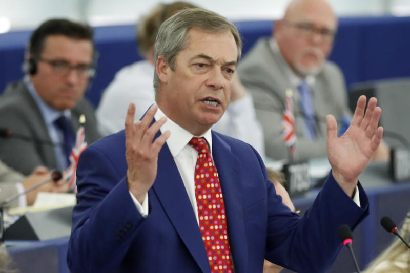 "Brexit Party leader Nigel Farage addresses Parliament Members during a session at the European Parliament Wednesday, Sept. 18, 2019 in Strasbourg, eastern France. The risk of Britain leaving the European Union without a divorce deal remains ""very real,"" European Commission chief Jean-Claude Juncker declared Wednesday as EU lawmakers debated the ramifications of a no-deal Brexit. (AP Photo/Jean-Francois Badias)"