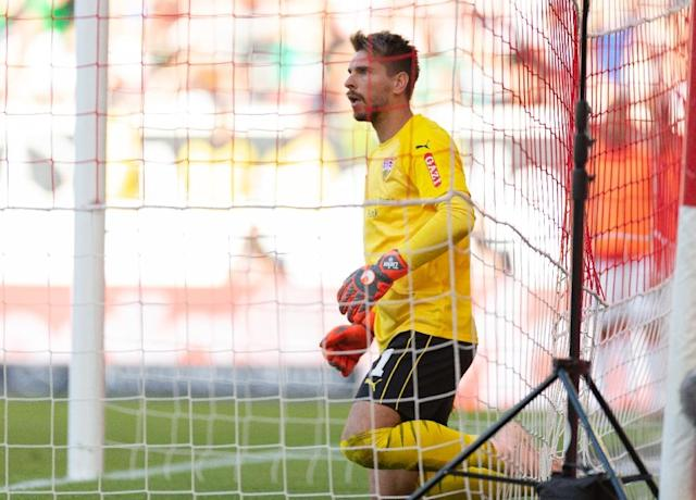 Stuttgart's Germany goalkeeper Ron-Robert Zieler is left dumbfounded after his own goal in his side's 2-1 win at home to Werder Bremen on Saturday. (AFP Photo/Deniz Calagan)