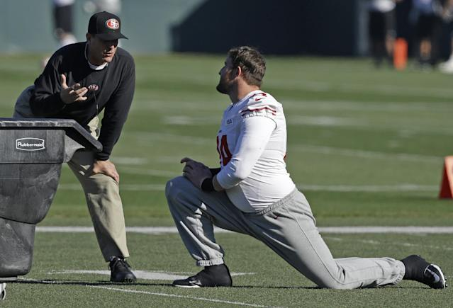 San Francisco 49ers coach Jim Harbaugh, left, speaks with Joe Staley during NFL football practice in Santa Clara, Calif., Thursday, Jan. 16, 2014. The 49ers are scheduled to play the Seattle Seahawks for the NFC championship on Sunday. (AP Photo/Ben Margot)