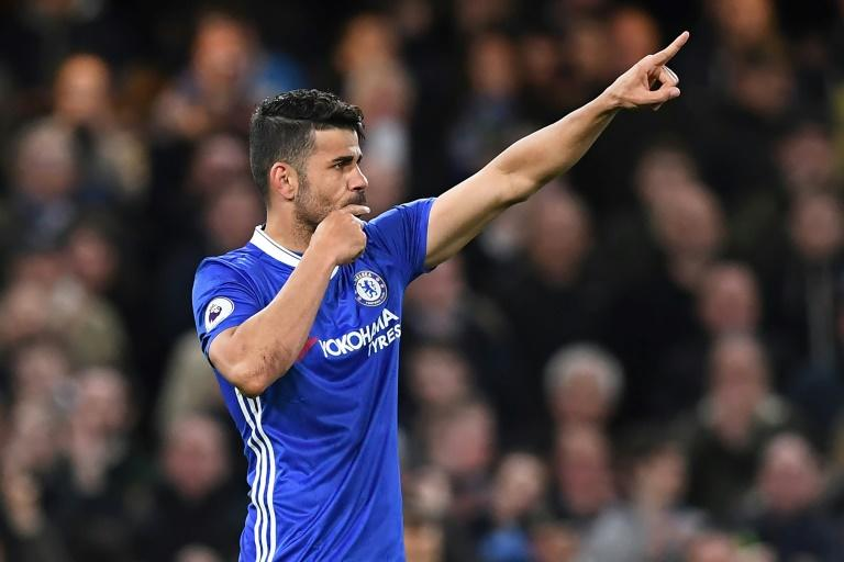 Chelsea's striker Diego Costa celebrates after scoring their third goal during the English Premier League football match against Southampton April 25, 2017