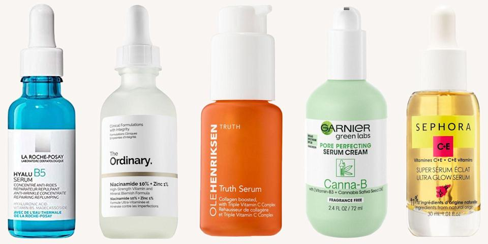 <p>Unless you hate the idea of smooth and glowing skin, I highly recommend adding a serum (or two or three) into your daily beauty routine. Thin with a water-like consistency, serums pair perfectly with moisturizers and are packed with a slew of high-concentration ingredients that give incredible results. And, since they're so lightweight, they can easily be layered or applied before your makeup. NGL, I use three serums in the morning and four before bed. They really are just <em>that</em> good. Whether you're looking to hydrate or even out, here are the ten best skin serums you can buy right now. </p>