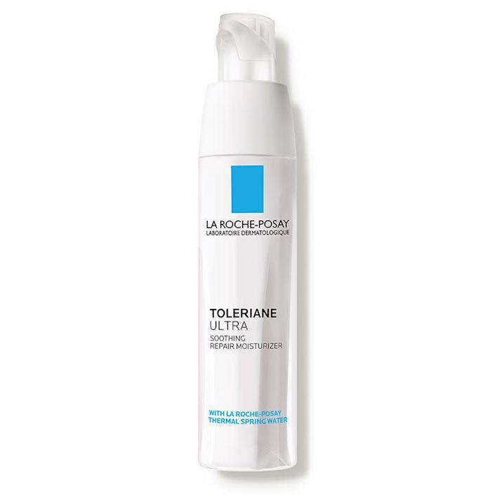 """Multiple dermatologists suggested moisturizers from La Roche-Posay, including Paik. &ldquo;La Roche-Posay&rsquo;s Toleriane Ultra is a great option for acne-prone skin. It has a light feel but is quite moisturizing and does not clog pores,&rdquo; she said. It uses key ingredients shea butter, thermal spring water and neurosensine to moisturize and support sensitive skin, relieving irritation and promoting healing. <br><br>If your skin is oilier, try the <a href=""""https://www.dermstore.com/product_Effaclar+Mat+Daily+Moisturizer+for+Oily+Skin_27334.htm"""" rel=""""nofollow noopener"""" target=""""_blank"""" data-ylk=""""slk:Effaclar Mat Daily Moisturizer"""" class=""""link rapid-noclick-resp"""">Effaclar Mat Daily Moisturizer</a> from the same brand. Hayag likes it because it reduces shine and smoothes skin texture, and even helps makeup apply more easily. <br><br><strong><a href=""""https://www.dermstore.com/product_Toleriane+Ultra+Soothing+Repair+Moisturizer_31711.htm?gclid=CjwKCAjwguzzBRBiEiwAgU0FT1oO2J6Ll8OqHAUY1IGJtMzuGuTPwnxFpZmYBTJDbWLdvgbMDsaLoBoCKxEQAvD_BwE&amp;scid=scplp31711&amp;sc_intid=31711&amp;iv_=__iv_p_1_g_103497357750_c_427721435475_w_aud-312053213250%3Apla-917786072124_n_g_d_c_v__l__t__r__x_pla_y_6790012_f_online_o_31711_z_US_i_en_j_917786072124_s__e__h_9073467_ii__vi__&amp;utm_source=fro&amp;utm_medium=paid_search&amp;utm_term=skin+care&amp;utm_campaign=100090"""" rel=""""nofollow noopener"""" target=""""_blank"""" data-ylk=""""slk:$29.99 from Dermstore"""" class=""""link rapid-noclick-resp"""">$29.99 from Dermstore</a></strong>"""