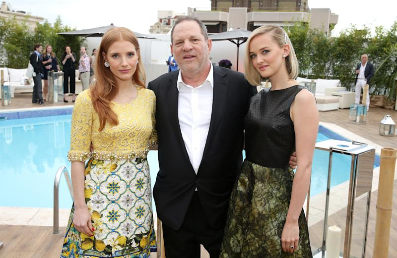 Jessica Chastain and Jess Weixler with Harvey Weinstein at a Cannes Film Festival in 2014. (Photo: Getty images)