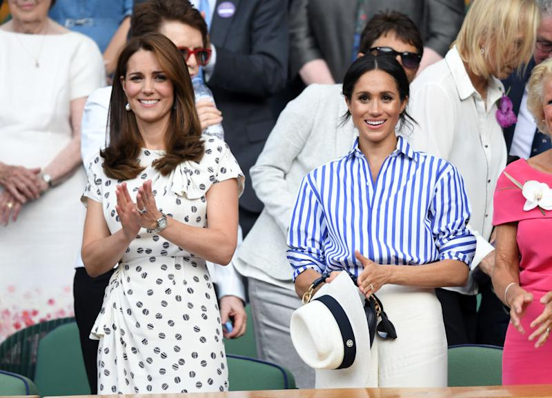 Meghan Markle beat sister-in-law, the Duchess of Cambridge in the beauty stakes, pictured at Wimbledon in July, 2018 in London, England. (Getty Images)