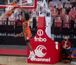 Illinois' Ayo Dosunmu (11) dunks after a steal against Nebraska during the first half of an NCAA college basketball game on Friday, Feb. 12, 2021, in Lincoln, Neb. (Francis Gardler/Lincoln Journal Star via AP)