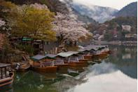 <p>The cherry blossoms are in bloom along the Katsura River in Japan // April 03, 2014</p>