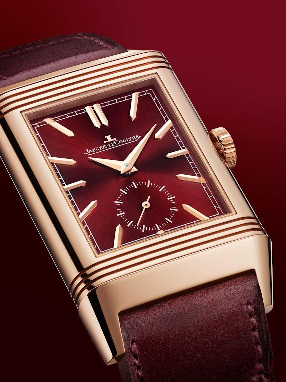 """<p>Jaeger-LeCoultre has dubbed 2021 """"the year of Reverso"""" in honour of the flippable watch's 90th anniversary. To tee-up a bunch of upcoming launches, they've released this beautiful burgundy Reverso Tribute Limited Duoface. One side shows the time with """"dauphine"""" hour and minute hands, a small seconds and sword-tipped baton hour markers. The reverse has a second time zone with day/night indicator, and features a hobnail """"Clous De Paris"""" guilloché finish. £21,100;<a href=""""https://www.jaeger-lecoultre.com/us/en/home-page.html"""" rel=""""nofollow noopener"""" target=""""_blank"""" data-ylk=""""slk:jaeger-lecoultre.com"""" class=""""link rapid-noclick-resp""""> jaeger-lecoultre.com</a></p>"""