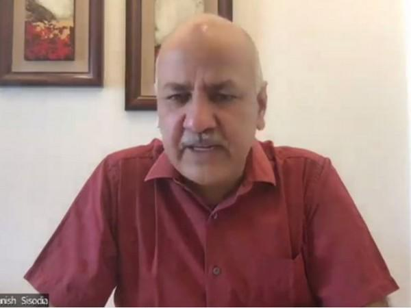 Delhi Education Minister Manish Sisodia during a press conference on Wednesday. (Photo/ANI)