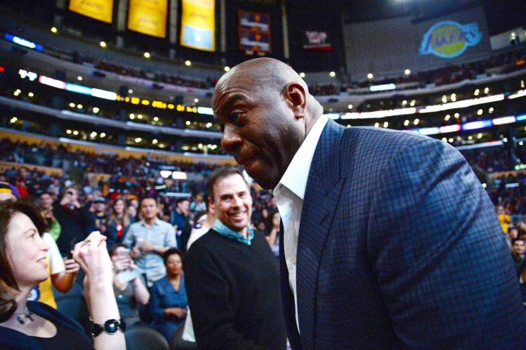 New Lakers president of basketball operations Magic Johnson has some decisions to make this summer. (Getty)