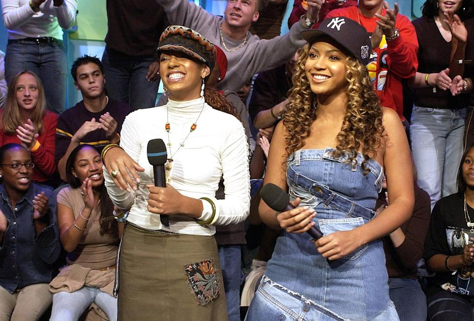 <p>Beyoncé and her sister, Solange, paired up for an episode of <b>TRL</b> in 2002.</p>