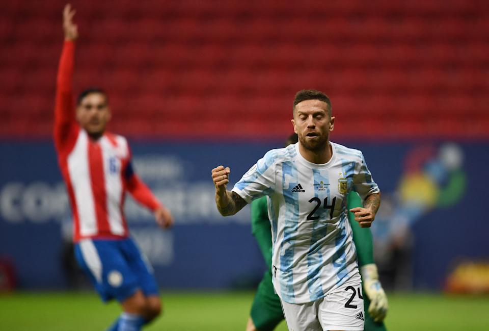 Argentina's Alejandro Gomez celebrates after scoring against Paraguay during their Conmebol Copa America 2021 football tournament group phase match at the Mane Garrincha Stadium in Brasilia on June 21, 2021. (Photo by EVARISTO SA / AFP) (Photo by EVARISTO SA/AFP via Getty Images)